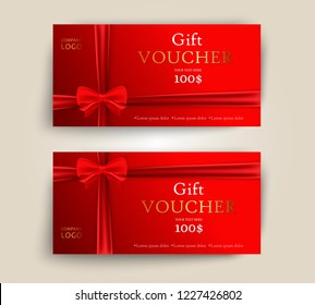 Vector set of luxury red gift vouchers with ribbons and bow. Elegant template for a festive gift card, coupon and certificate. Discount Coupon Template. Vector Illustration EPS10