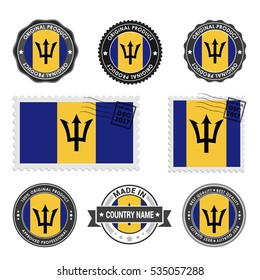 Vector set of made in the Barbados labels. Approved Product, Original Product Stamps label design. country flag air mail stamp, vector illustration