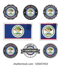 Vector set of made in the Belize labels. Approved Product, Original Product Stamps label design. country flag air mail stamp, vector illustration
