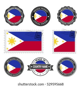 Vector set of made in the Phillipines labels. Approved Product, Original Product Stamps label design. country flag air mail stamp, vector illustration
