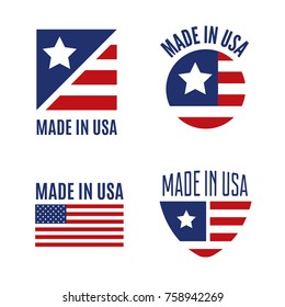 Vector set of Made in the USA logo, labels and badges on white background