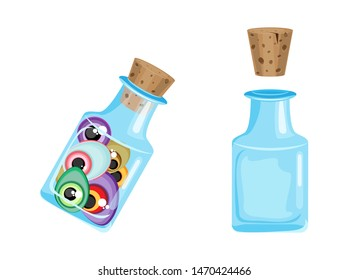 Vector set magic bottle with monsters eyes. On a transparent background