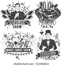 Vector set of magic show labels in vintage style isolated on white background. Card tricks