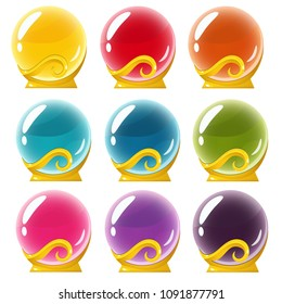 Vector set of magical crystall balls on golden stand. Isolated in white background. Perfect for games or other design works
