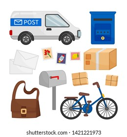Vector set of mail icons. Postal car, envelopes, stamps, mailbox and other symbols of the postal service.