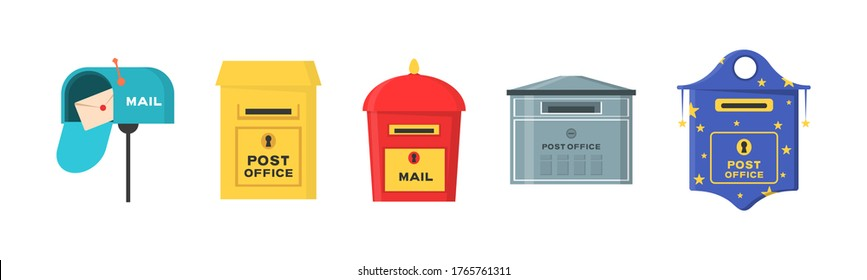 Vector set of mailboxes, letter boxes, pedestals for sending and receiving letters, correspondence, newspapers, magazines, bills. Set of mailbox for delivery envelopes, parcel in flat style.