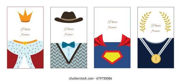 Vector set of male character photo frames, cards. Gentleman, King, Superhero and Champion.