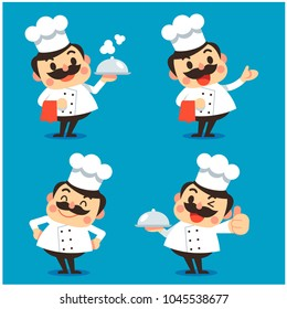 Vector set of male chef character in different actions