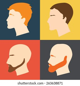 Vector set of male faces in profile