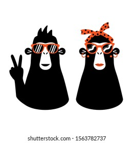 Vector set with male and female monkeys in red sunglasses. Cool apparel print designs, sticker templates with animals