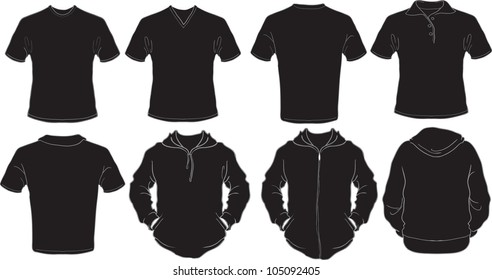 vector set of male shirts template in black, check out my portfolio for different t-shirt templates