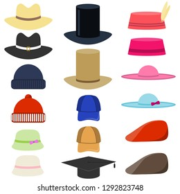 Vector set of man and woman hats. Flat vector set of man and woman hats. Stylish male and female headwear. Hat set isolate on white background.
