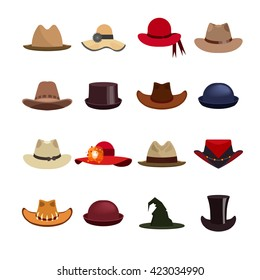 Vector set of man and woman hats. Illustration with different types of hats 5fe29a7e508c
