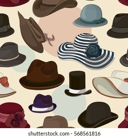 Vector set of man and woman hats pattern