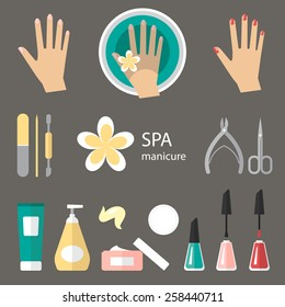 Vector set of manicure tools, cosmetics, nail polish, hands and spa manicure logo. Eps 10.