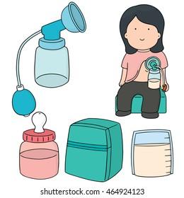 vector set of manual breast pump