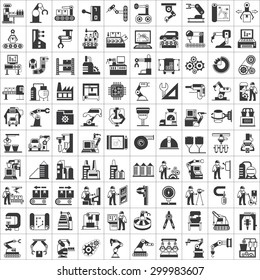 vector set of manufacturing process, production line and automation icons, robot, industry icons