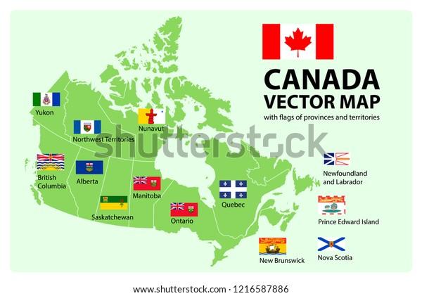 Vector Set Map Canada Provinces Territories Stock ...
