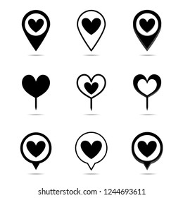 Vector set map pointer with hearts icon.illustration.Location symbol vector set isolated on white background. Black color. Love symbol for valentine's day.hearts icon.Pin hearts.Search and find love.