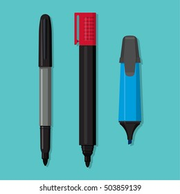 A vector set of markers on the isolated blue background. The writing objects in flat style. Office and school supplies.