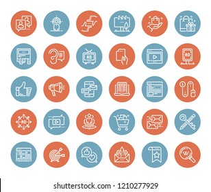 Vector set of marketing and advertising flat line web icons. Each icon with adjustable strokes neatly designed on pixel perfect 48X48 size grid. Fully editable and easy to use.