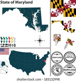 Vector set of Maryland state with flag and icons on white background