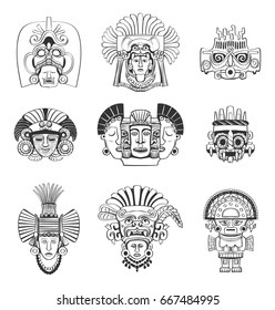 Vector set of mask and deity of the Indians of South America. Stylized graphics in the style of the Aztecs and the Incas on white background.