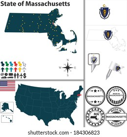 Vector set of Massachusetts state with flag and icons on white background