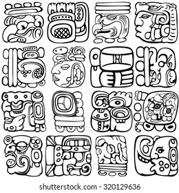 Vector set of Mayan and aztec glyphs with ancient gods and characters on white