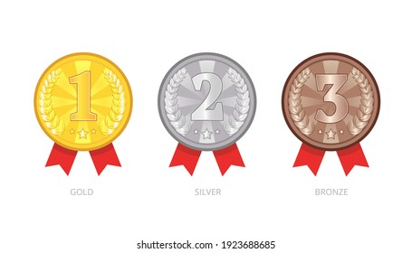 Vector set of medals icons. Gold, silver, bronze awards with red ribbons