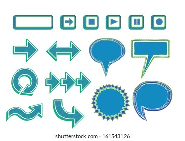 Vector Set of Media Player Buttons, Arrows and Bubbles -blue color