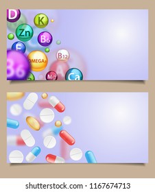 Vector set of medical banners web templates with realistic falling pills. Medications, supplements, and painkillers in form of pharmaceutical capsules, tablets, caplets and softgels, copy space.