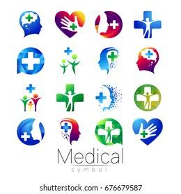 Vector SET of medical sign with cross inside, human profile. Symbol for doctors, website, visit card, icon. Blue color. Medicine modern concept design. Health and care.