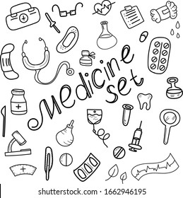 vector set, medical supplies in doodle style