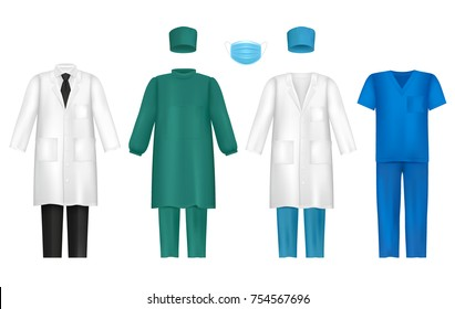 Vector set of medical uniforms for all healthcare professionals. Doctors gown or lab coat, nursing uniform, medical scrub and hat, surgical mask isolated on white background.