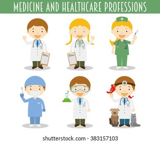 Vector Set of Medicine and Health care Professions in cartoon style