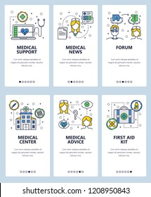 Vector set of medicine and healthcare mobile app onboarding screens. Medical support, news, center, advice, Forum, First aid kit web templates, banners. Thin line art flat icons for website menu.