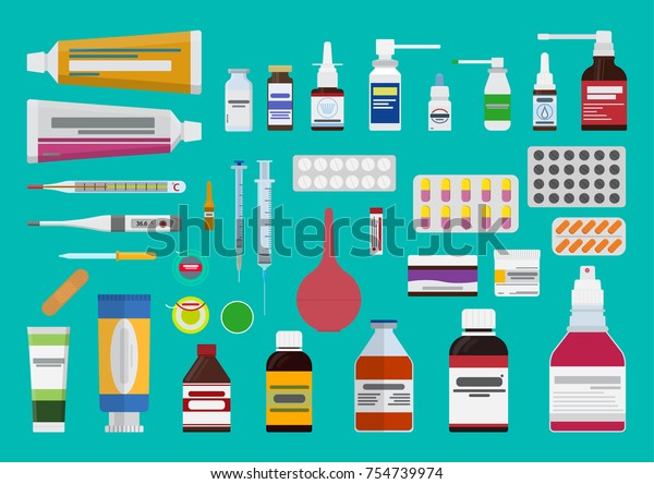 Vector set of medicines. The concept of pharmaceutics and medication.