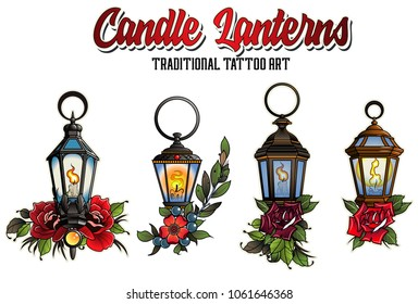 Vector Set of Medieval Candle Lanterns and Roses. Tattoo Art