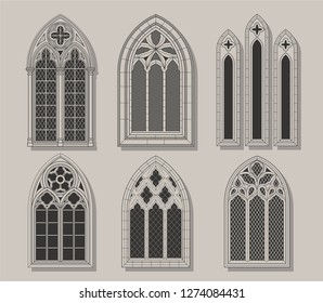 Vector Set of Medieval Castle Windows Gothic Style