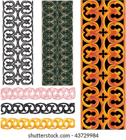 vector set of medieval european patterns in different color schemes