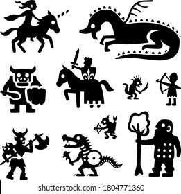 Vector set of medieval fantasy character icon silhouettes. Includes an elf riding a unicorn, a dragon, an ogre with a mace, a king on a horse, a crocodile, an archer, a goblin archer, an orc chieftain
