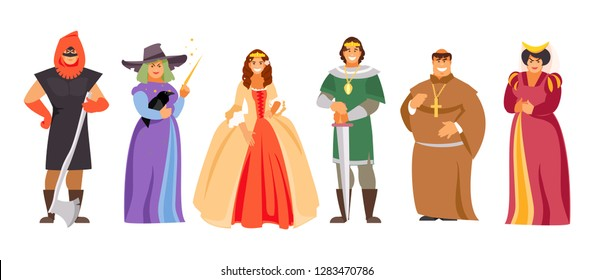 Vector set of medieval royal characters, part 1. Prince and princess, executioner, sorceress, priest and maid of honor