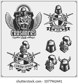 Vector set of medieval warrior knight emblems, logos, labels, badges emblems, signs and design elements.