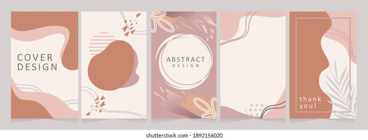 Vector set of Memphis Modern backgrounds in minimal trendy style with copy space for text - design templates for social media stories or prints. Simple and trendy abstract designs with floral elements