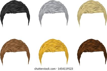 Vector set of Men hairstyles short hair A variety of natural colors