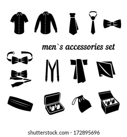 vector set of men`s classic fashion accessories