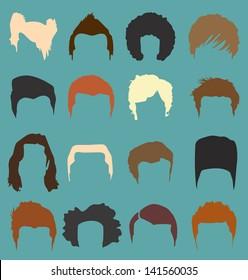 Vector Set: Men's Hairdo Styles in Color