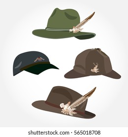 Vector set of men's hats with feather, deerstalker hat and cap isolated on white background. Flat style design.