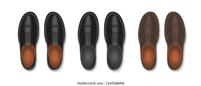 Vector set. Men's shoes. Top view.